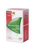 Nicorette 2 mg Gomme à mâcher médicamenteuse sans sucre fruits Plq/105 à Ris-Orangis