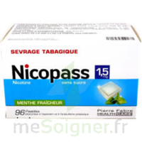 Nicopass 1,5 mg Pastille sans sucre menthe fraîcheur Plq/96 à Ris-Orangis