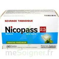 Nicopass 2,5 mg Pastille menthe fraîcheur sans sucre Plq/96 à Ris-Orangis